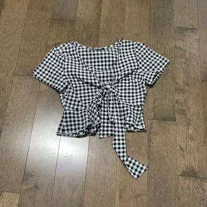 Gingham tie waist crop top